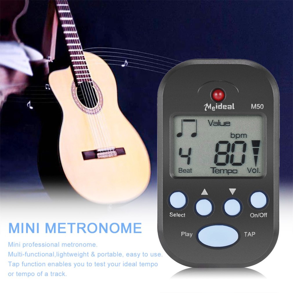 1 Pcs Digitale Nero/bianco Clip Batti Tempo Mini Lcd Metronome Per Pianoforte Accessori Per Chitarra Di Trasporto/trasporto Di Goccia Il Prezzo Rimane Stabile