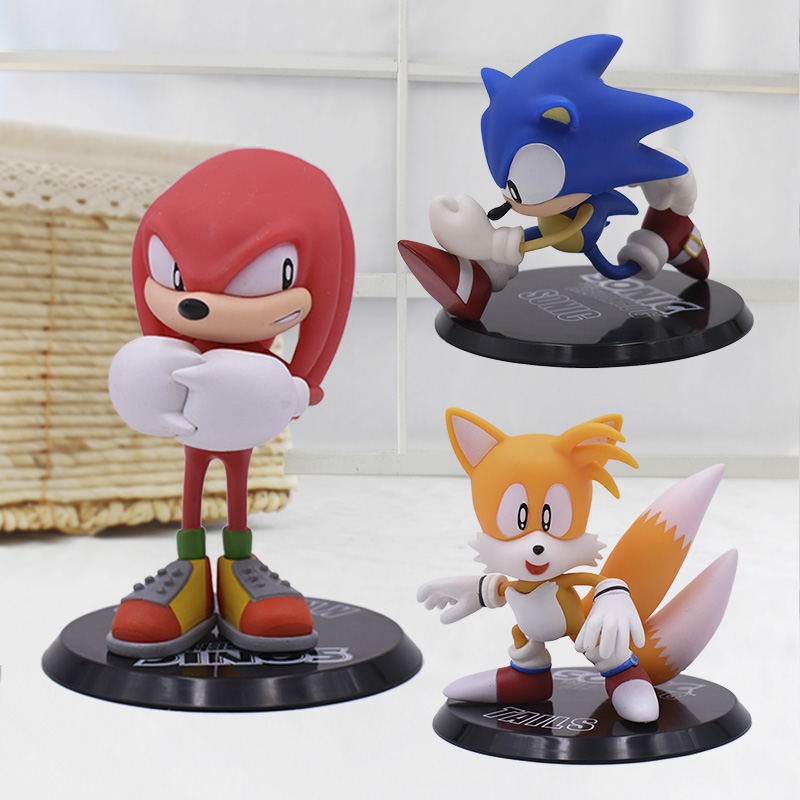 3 Set Cartoon Cute Sonic PVC Action Figure Game Sonic Knuckles Tails Collectible Model Doll Toys Gift For Kids image