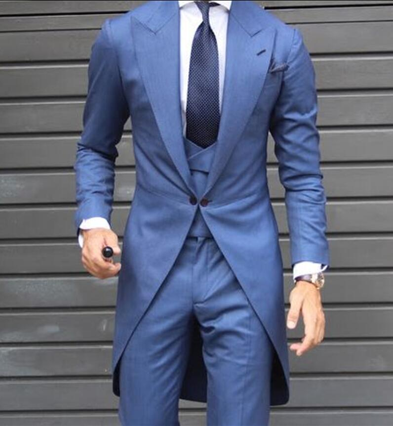 Latest Coat Pant Designs Navy Blue Wedding Suits for Men Slim Fit 3 Piece Tuxedo Groom Suit Custom Prom Blazer Masculino