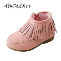 AIKELINYU Autumn New Genuine Leather Girls Shoes Children Princess Boots Kids Genuine Leather Tassel Boots Winter