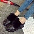 Menina do inverno maomao preto curto botas de estudantes mais sapatos de algodão para manter botas quentes do sexo feminino à prova d' água sapatos de pano liso