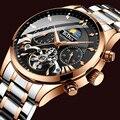 Мужские автоматические механические часы Tourbillon  спортивные мужские часы  повседневные деловые полностью стальные часы в ретро стиле  Relojes ...