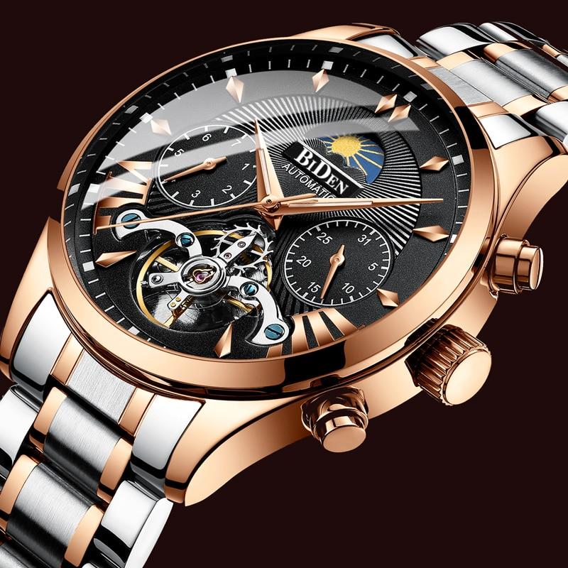 Los hombres reloj mecánico automático reloj Tourbillon Deporte Hombre reloj Casual de negocios de acero completo Retro reloj de pulsera Relojes Hombre regalo