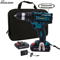 21V Impact Power Tools Impact Drill Electric Perforator 45N.m Multifunctional Screwdriver Cordless Drill Driver + Woven Bag