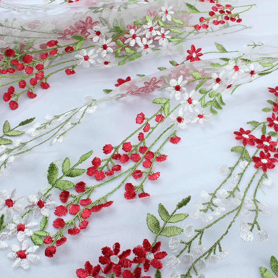 白、赤の花刺繍レース生地花カーテンウェディングドレッシング販売庭 (91.5 センチ)