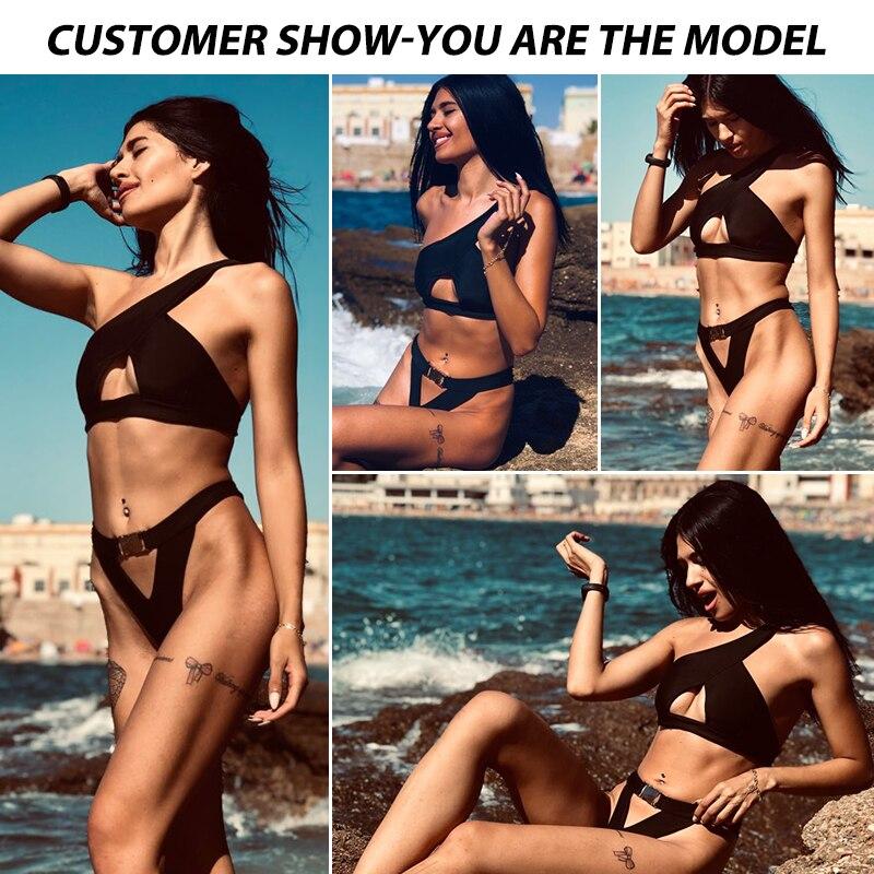 HTB14Pv.XO 1gK0jSZFqq6ApaXXas In-X One shoulder bikini 2019 Buckle high cut swimsuit Sexy thong bikini Hollow out bathing suit White push up swimwear women