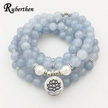 Ruberthen Nuevo Diseño Azul de Piedra Natural Pulsera de Las Mujeres 108 Yoga Mala Pulsera o Collar de Moda de La Vendimia de Las Mujeres de La Joyería