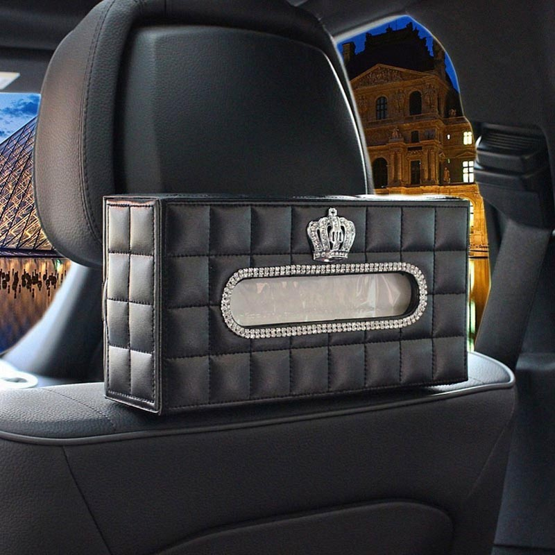crown crystal car seat back hanging tissue case tissue box holder swan decoration tissue paper. Black Bedroom Furniture Sets. Home Design Ideas