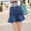 Cintura alta Mini Saias Fishtail Babados Saia Jeans Feminina Verão 2017 das Mulheres calças de Brim Faldas Mujer