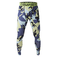 Men Compression Long Pants Running Base Layers Skins Tights Army Camouflage Soccer Joggers Trousers(Blue & Yellow )
