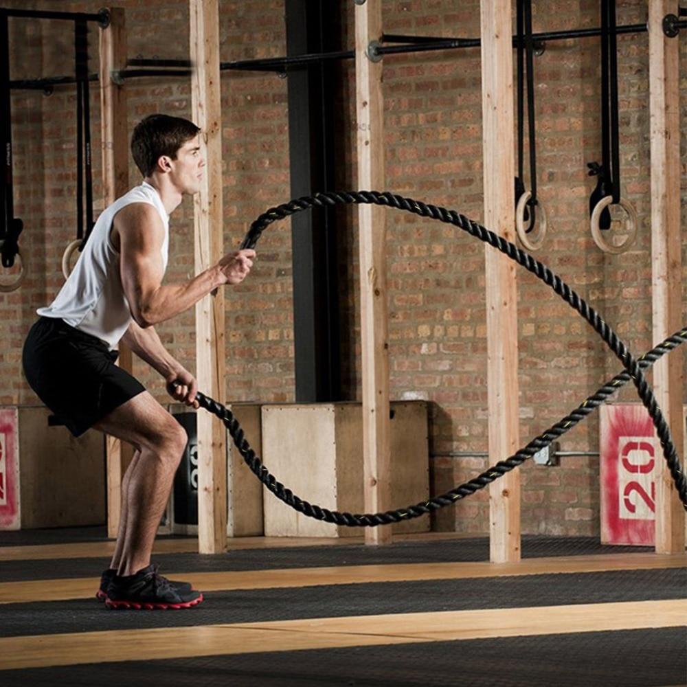 Bodybuilding 38mm 12m/15m Poly Dacron Battle Rope Exercise Workout Strength Cardio Training Undulation Fitness Rope Black