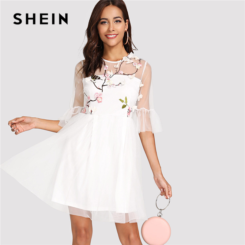 SHEIN Botanical Embroidered Flounce Sleeve Mesh Overlay Dress 2018 Summer Round Neck Half Sleeve Dress Woman Party Elegant Dress flounce sleeve embroidered mesh dress