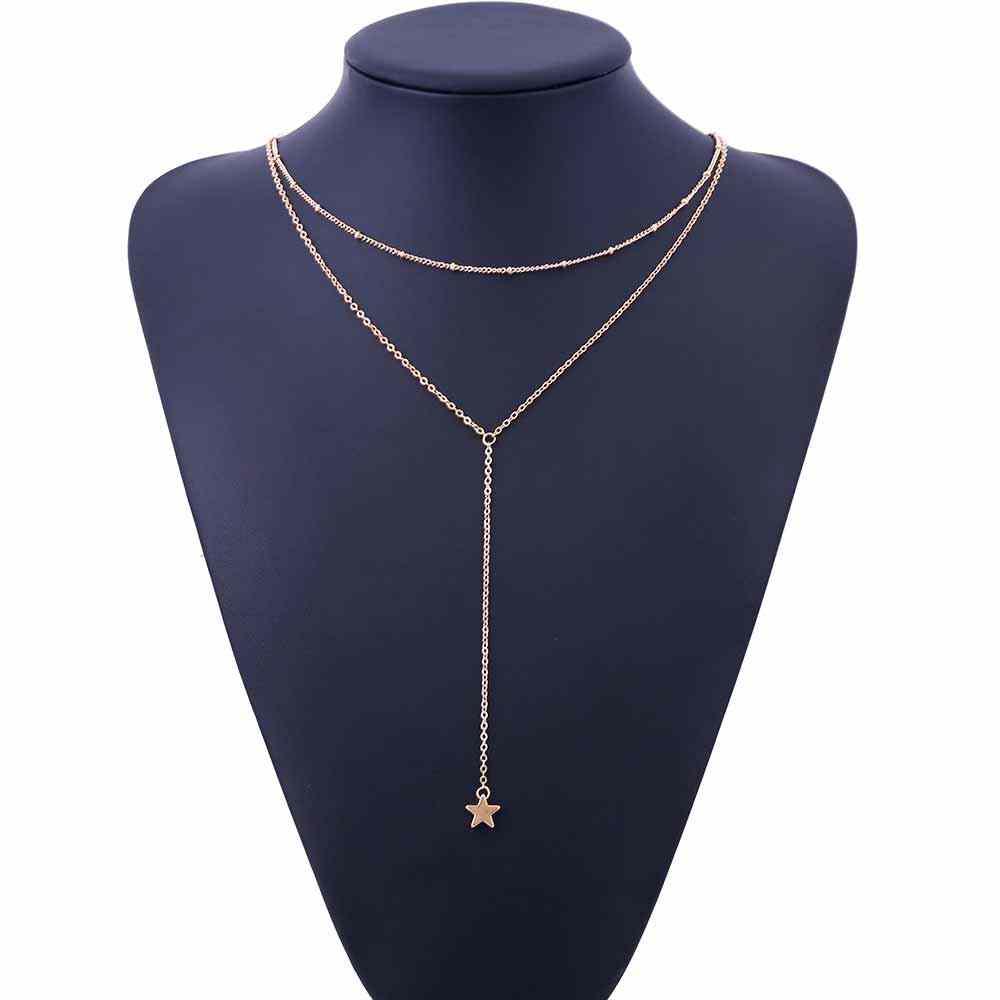 IPARAM 2019, joyas de moda de verano, collar de luna creciente con borla, collar con colgante de estrella de cinco puntas