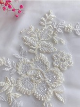 6 pieces / lot 3D tiny pearl beaded lace applique in champagne, dense sequin flower for dance costumes veils craft