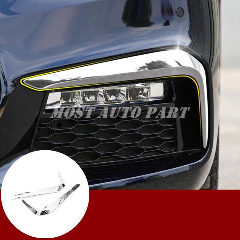 ABS Chrome Front Bumper Fog Light Cover Trim 2pcs For BMW