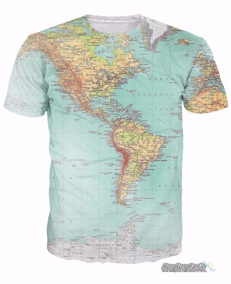 2019 new World Map 3D funny t Shirt printed Hipsters retro globe image of  the Americas t shirt Short Sleeve tees Women Men tops 923d75b531e5