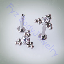 Labert pendientes de titanio G23 de 14G y 16G, piercing de labio interno, para trago del oído, cartílagos, joyería para el cuerpo