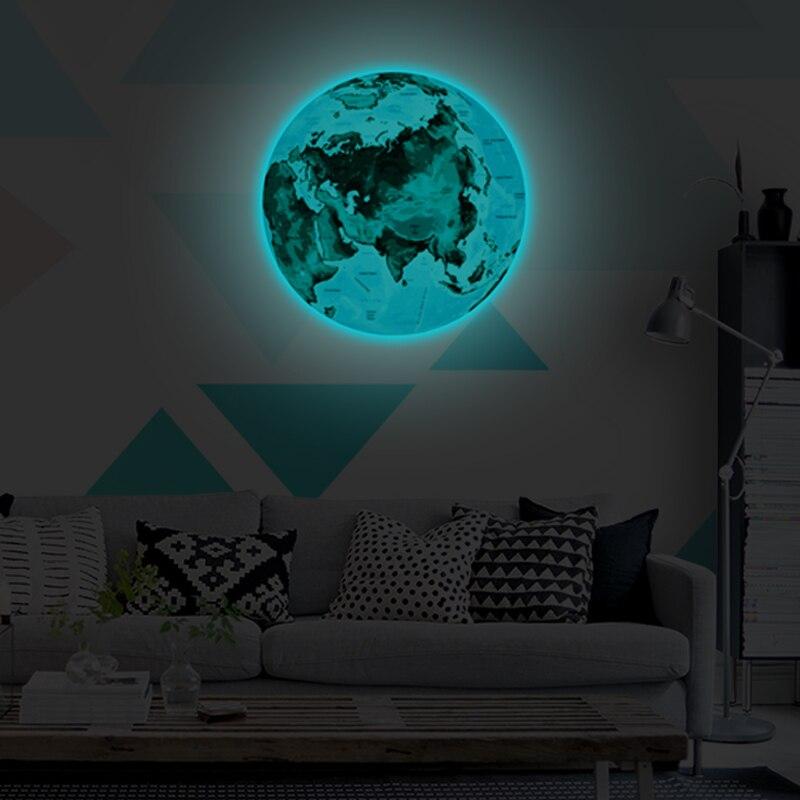 wholesale 1pcs new luminous blue earth cartoon diy 3d wall stickers