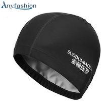 Tecido anyfashion proteger os ouvidos longos cabelos siwm piscina cap esportes  chapéu das mulheres dos homens 17e86e8e38c