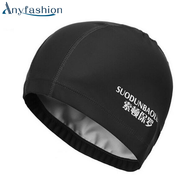 Anyfashion Fabric Protect Ears Long Hair Sports Siwm Pool Swimming Cap Hat Adults Men Wo ...