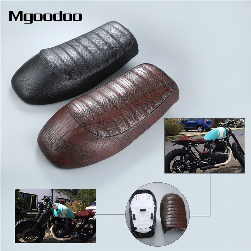 Mgoodoo Crocodile moto café Racer siège personnalisé Vintage bosse selle plat Pan rétro siège adapté pour KAWASAKI Suzuki GS Honda CB
