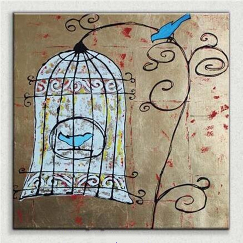 home decor for living room bird cage acrylic pictures hand painted oil painting on canvas. Black Bedroom Furniture Sets. Home Design Ideas