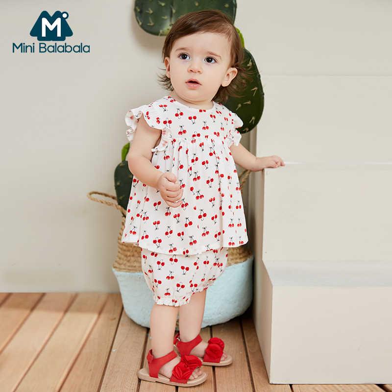 Conjunto de ropa suelta para niñas Mini balabalaby 2019 verano nuevo traje de dos piezas para bebé con estampado fino