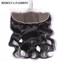 Rebecca Brazilian Remy Hair Body Wave Lace Frontal 13x4 Human Hair Closure For Hair Salon Ear