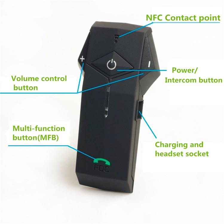 1PCS 1000m Motorbike Moto Helmet Bluetooth Intercom Stereo Headset Handsfree BT Interphone Earphones with NFC FM+Remote Control  (6)