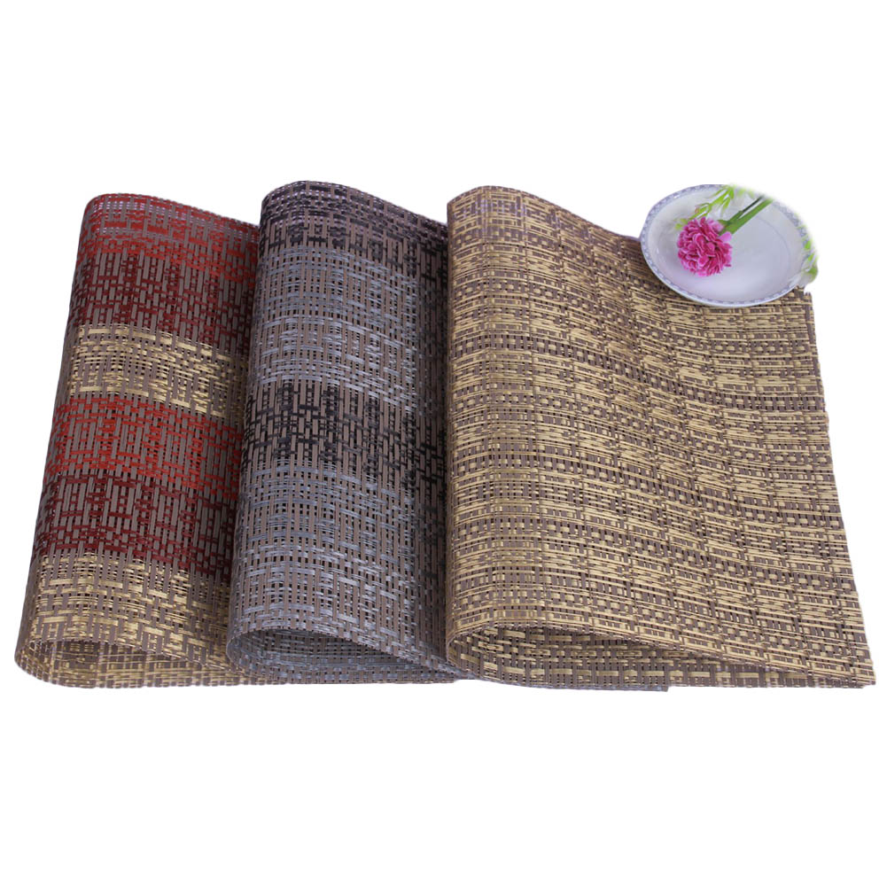Dining table mats - 4 Pcs Kitchen Pvc Table Mat Weave Placemats Heat Insulated Tableware Mats Dining Table Pads