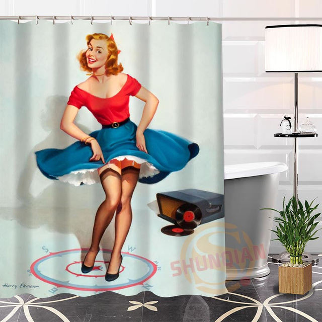 Eco Friendly Custom Pin Up Shower Curtain Modern Unique Bathroom With Hooks Bath Curtains