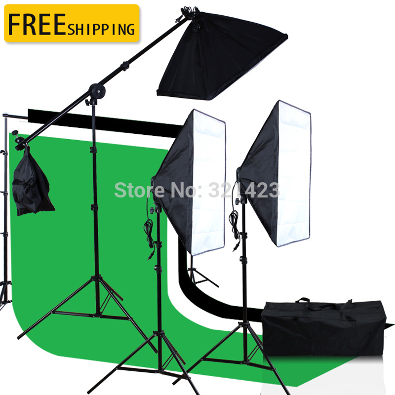 3x6M Green Black White Muslin Backdrop 2.6 x3M Background Support 50 x70cm Continuous Softbox Photography Kit with Bag photography photo video continuous lighting kit 2x3m background support light stand with green black white 2x3 muslin backdrops