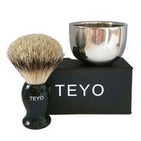 TEYO Silvertip Badger Hair Shaving Brush and Shaving Bowl Set Perfect for Wet Shave Safety Razor Double Edge Razor