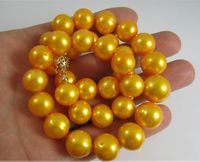 Huge AA++ 13 MM golden yellow south sea pearl necklace 17.5 new GOLD CLASP ^^^@^Noble style Natural Fine jewe FREE SHIPPING