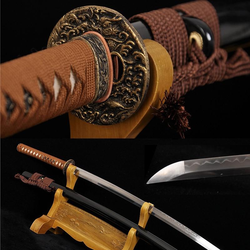 Ručně vyráběné japonské samuraje KATANA SWORD Mosaz TSUBA jíl temperované tradiční