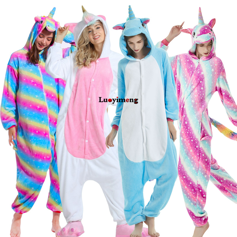 2019 Flannel Women Pajamas Unicorn Onesie Adults Pijama Stitch Animal Hooded Kigurumi Pajama Unisex Winter Sleepwear Costume