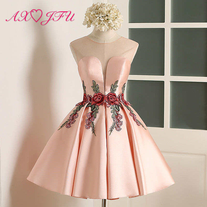 AXJFU pink flower evening dress new Simple flower pink lace Short evening Dresses Sexy Bride Party