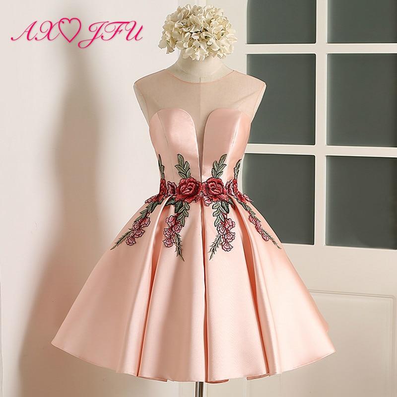 AXJFU Pink Flower Evening Dress New Simple Flower Pink Lace Short Evening Dresses Sexy Bride Party Flower Evening Dress