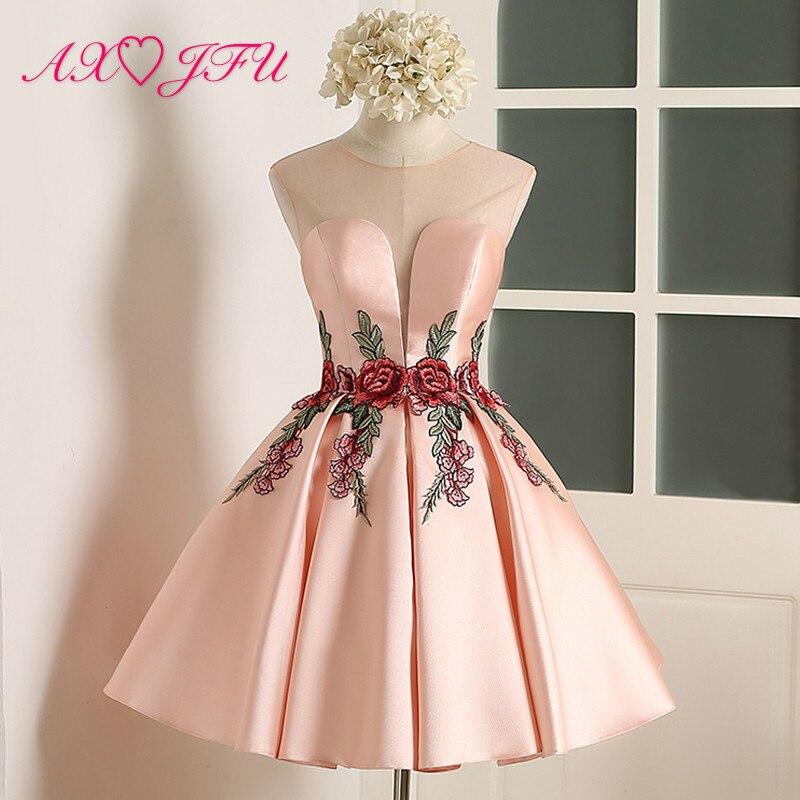 AXJFU rose fleur robe de soirée nouveau Simple fleur rose dentelle Courtes robes de soirée Sexy Party Mariée fleur robe de soirée