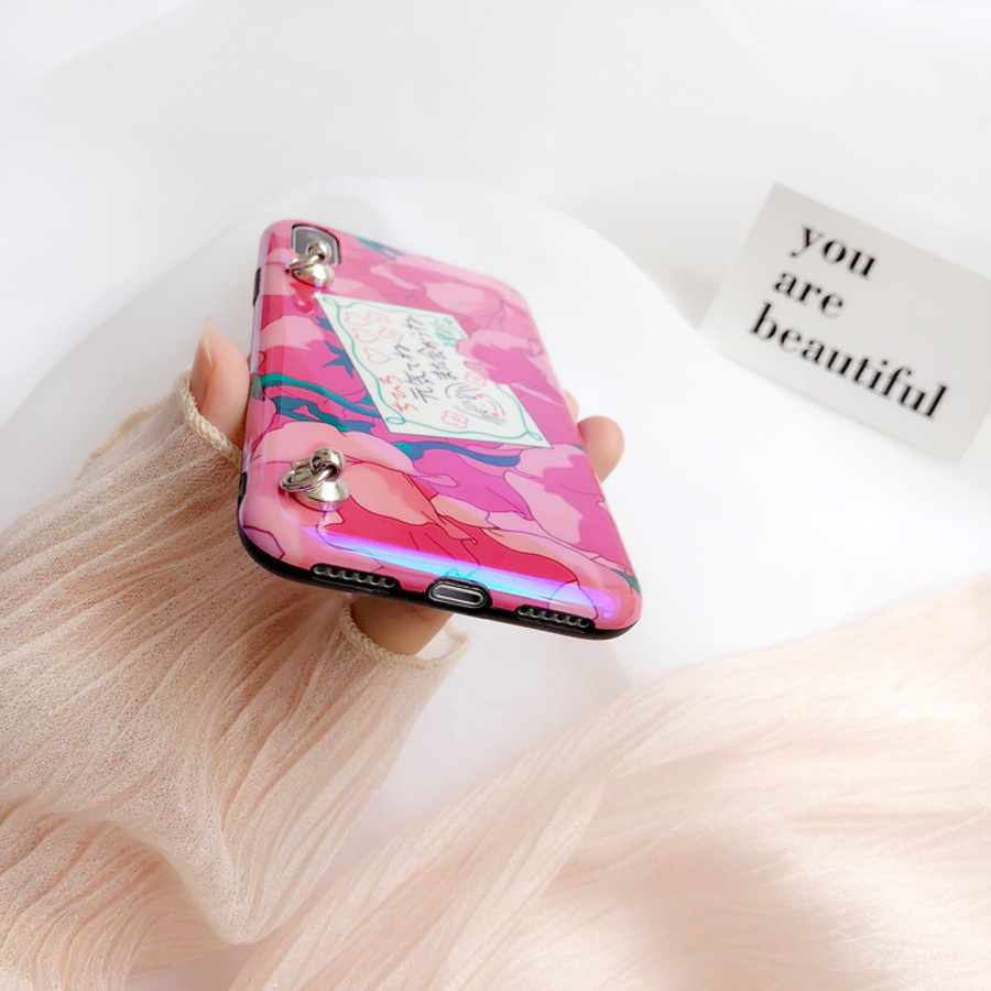 flower strap tpu case for iphone 7 8 6 6S plus XR X XS MAX case cover blue ray shoulder lanyard soft silicon phone bag capa in Fitted Cases from Cellphones Telecommunications