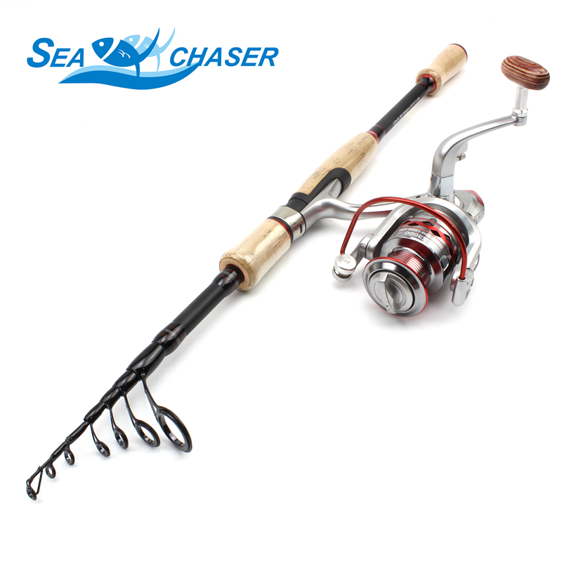 NEW 2 1m 2 4m 2 7m wooden handle Spinninglure Rod and Spinning Reels Set carbon