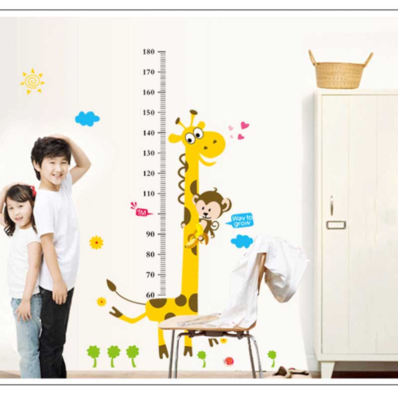 Measure Height Wall Stickers Cartoon Giraffe Of Kindergarten Childrens Room Chart Ruler Environmental Protection Home Decor