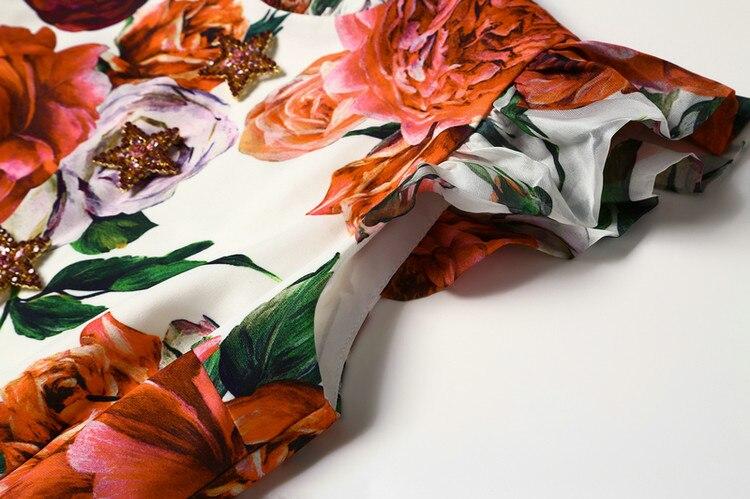 2018 De Lady Robe Piste Imprimé Femmes Haute Ruches Robes Floral Npd0886 Mode Patchwork Qualité 5611xngp