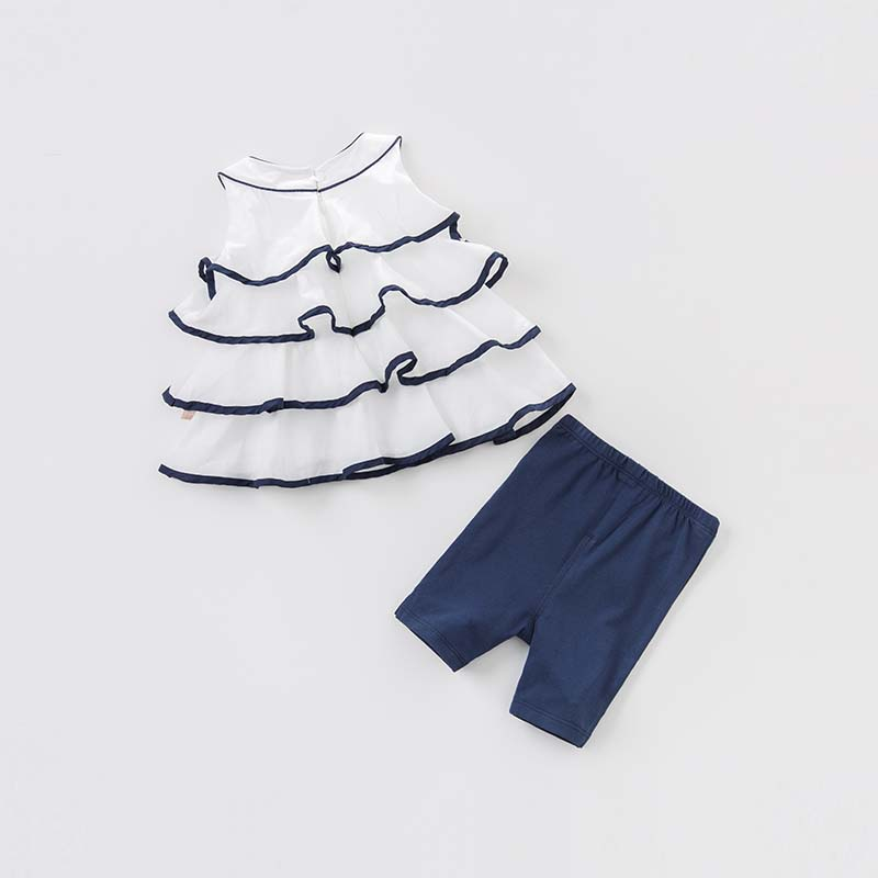 Dave bella toddler girls summer clothing children high quality clothes baby lovely suit kids clothing sets DB7114