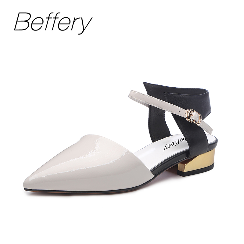 Beffery 2018 Summer New Genuine Leather women shoes fingertip square High heels Fashion Sandals low-heeled shoes woman new women sandals low heel wedges summer casual single shoes woman sandal fashion soft sandals free shipping
