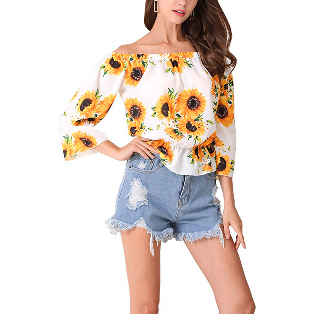 Womens Tops and Blouses 2018 Off Shoulder Shirts Tunic Sunflower Print Ladies Top Three Quarter Flare Sleeve Streetwear Clothing leggings