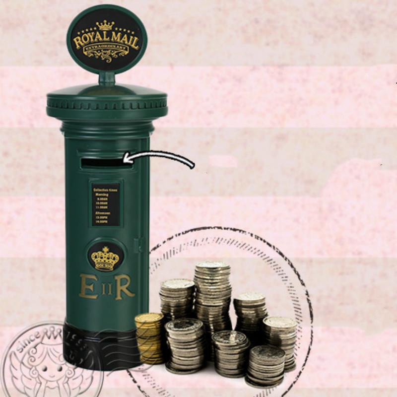 #a Retro England Mailbox Piggy bank Originality personality Coin Savings bank Decoration red green kids High-quality