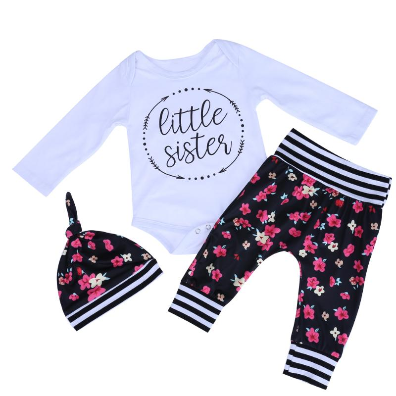 Hot Sale Baby Girl Floral Clothes Set Cute Kids Casual Christmas Costume Long Sleeve Romper Trousers Hat New Years Clothing
