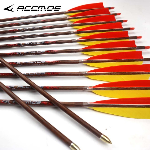 US $50 28 22% OFF|New 32 inches Spine 500 12pcs Pure Carbon Arrow With  Wooden Pattern Real Feather for Traditional bow Long Bow Hunting-in Bow &  Arrow