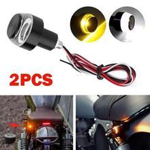 цена на Motorcycle LED Handlebar End Turn Signal Light DC 12V White Yellow Flasher Handle Grip Bar Blinker Side Marker Lamp